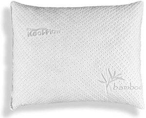 Xtreme Comforts Slim Hypoallergenic Kool-Flow Bamboo Shredded Memory Foam Bed Pillow