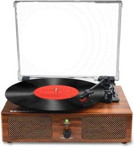Udreamer Vinyl Record Player - Bluetooth Turntable with Built-in Speakers - Best Bluetooth Record Player
