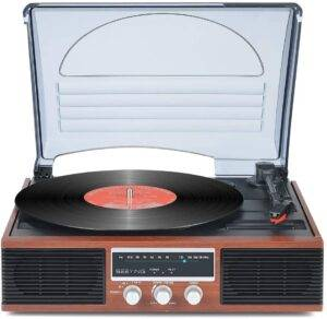 SeeYing Bluetooth Turntable with Stereo Speakers